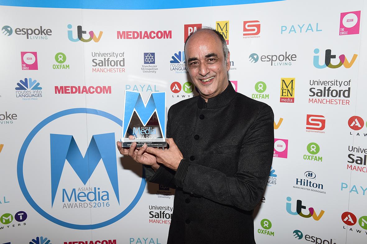 Art Malik presented with Sophiya Haque Services to British Television & Film Award
