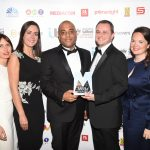 The TV Report of the Year was presented by Mike Straney of Sightsavers (second from right)