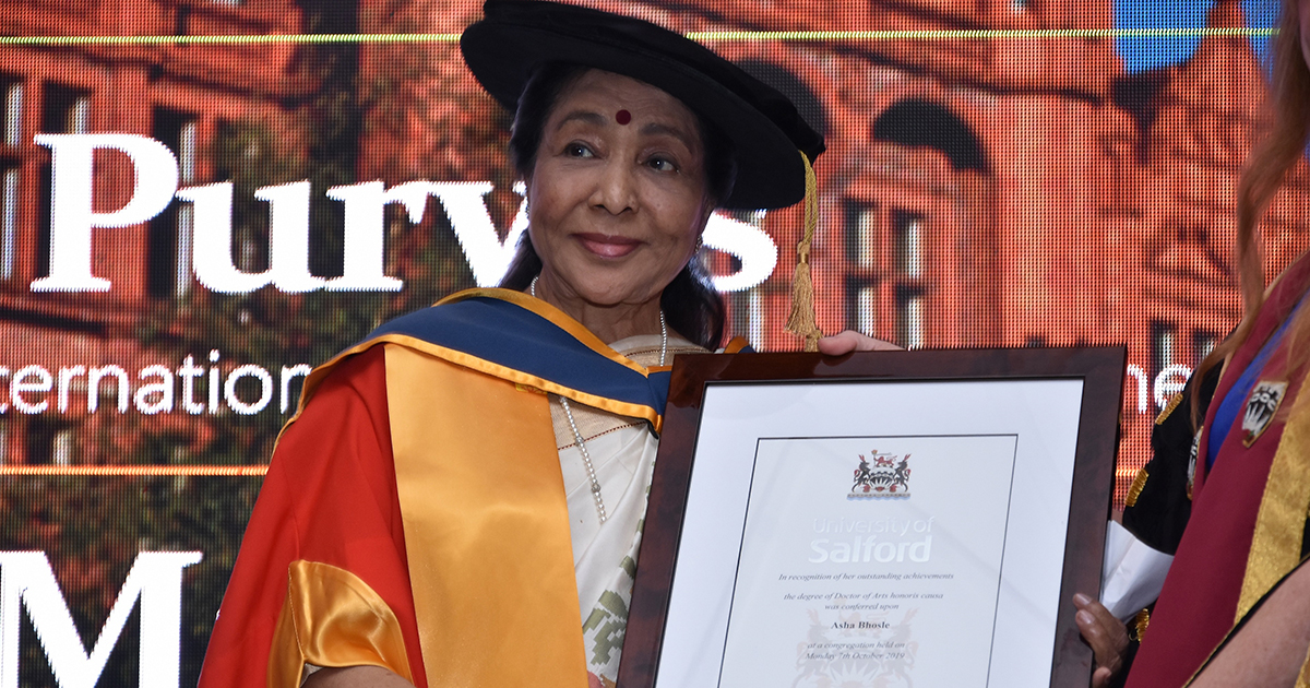 Asha Bhosle Receives Honorary Degree from University of Salford