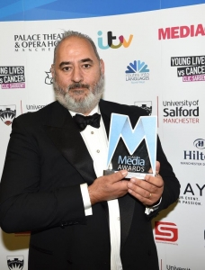 Ayub Khan Din with the Sophiya Haque Services to British Television and Film Award