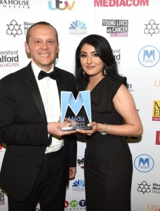 Paul Broster (Universoty of Salford) with Outstanding Young Journalist winner Amani Khan